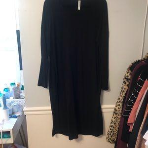 🖤Black Long Sleeve Midi Dress